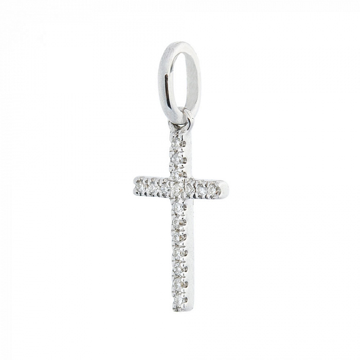 Крестик из белого золота Лидия с бриллиантами 000070403