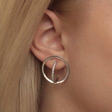 Серебряные серьги-пуссеты Талия в геометрическом стиле с фианитами