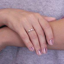 Золотое кольцо Иллани с асимметрично расположенными фианитами