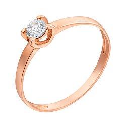Золотое кольцо Единственная в красном цвете с кристаллом Swarovski