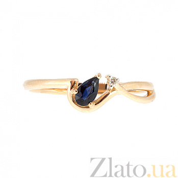 Кольцо в красном золоте Дарина с сапфиром и бриллиантом ZMX--RDS-5576_K