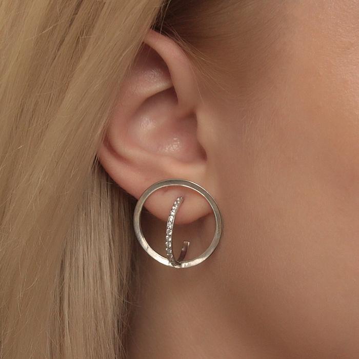 Серебряные серьги-пуссеты Талия в геометрическом стиле с фианитами 000080844