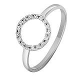 Золотое кольцо в белом цвете с фианитами Круг