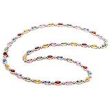 Золотое колье Капель с разноцветными сапфирами и бриллиантами