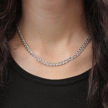 Серебряная родированная цепочка Айдахо в плетении нонна бисмарк с алмазной гранью, 5мм