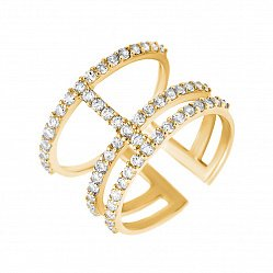Фаланговое кольцо из желтого золота с фианитами 000135357