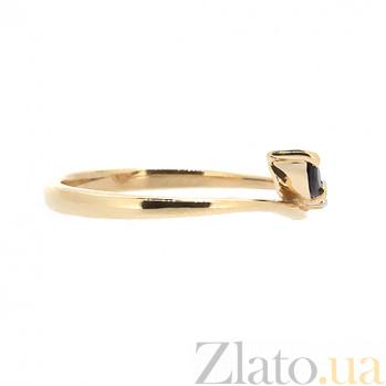 Золотое кольцо в красном цвете с бриллиантом и сапфиром Венус ZMX--RS-15809_K