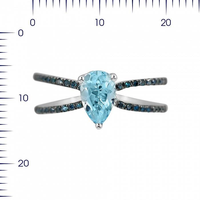Кольцо из белого золота Филлис с голубыми бриллиантами и топазом 000080882