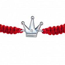 Детский плетеный браслет Принцесса с cеребряной вставкой и фианитом10-10см