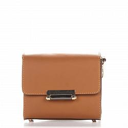 Кожаный клатч Genuine Leather 1938 коньячного цвета с механическим замком и плечевым ремнем