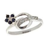 Серебряное кольцо Сильва с сапфирами и бриллиантами