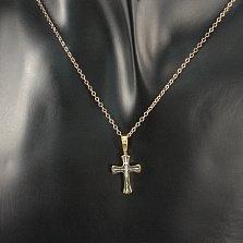 Серебряный крестик Традиции в комбинированном цвете с надписью Спаси и Сохрани