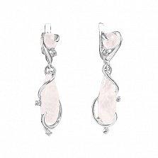 Серебряные серьги-подвески Акванита с розовым кварцем и фианитами