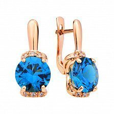 Серьги из красного золота Мирабелла с синим томазом лондон и фианитами