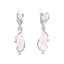 Серебряные серьги-подвески Акванита с розовым кварцем и фианитами 000055294