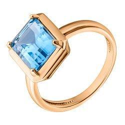 Кольцо в красном золоте с голубым топазом 000050393