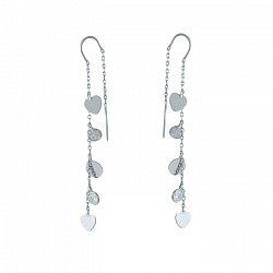 Серебряные серьги-протяжки Марисоль с сердечками и фианитами