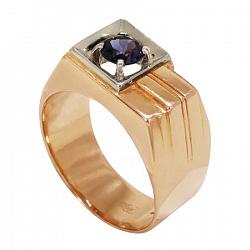 Золотое кольцо Нью-Айленд с синтезированным аквамарином