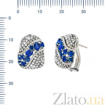 Серьги из белого золота Энджи с бриллиантами и сапфирами 000081167