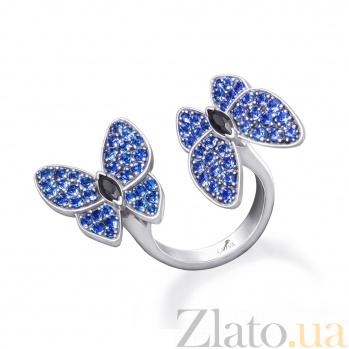 Серебряное кольцо Бабочки с синими и черными фианитами 000098231