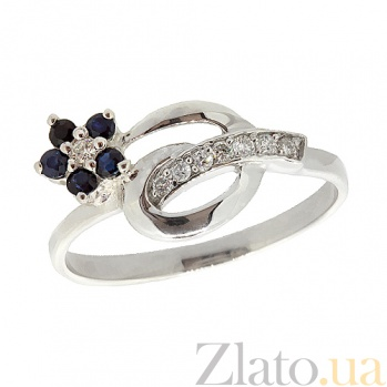 Серебряное кольцо Сильва с сапфирами и бриллиантами ZMX--RDS-6488-Ag_K