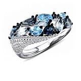 Кольцо из белого золота Николь с голубым топазом и бриллиантами