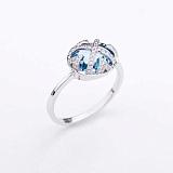 Золотое кольцо Зимняя нежность с голубым топазом и бриллиантами