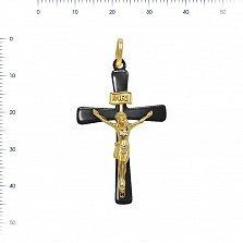 Крестик из желтого золота и черной керамики Вечная жизнь