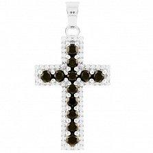 Серебряный крестик Маделин с сапфирами и фианитами