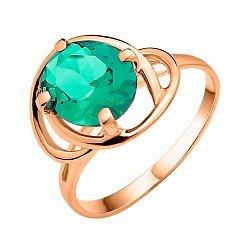 Кольцо из красного золота Эвридика с зеленым кварцем