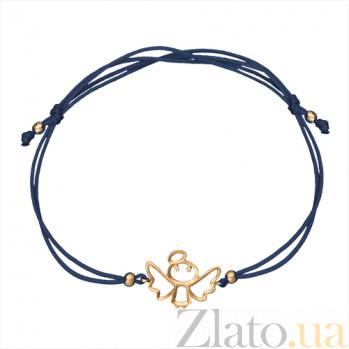 Шелковый браслет Херувим в красном золоте с фианитами 000045136