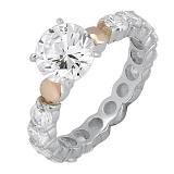 Серебряное кольцо Мириам с фианитами и золотыми накладками