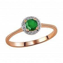 Кольцо из красного золота Дафна с изумрудом и бриллиантами