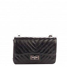 Кожаный клатч Genuine Leather 6175 черного цвета с плечевым ремнем и механическим замком