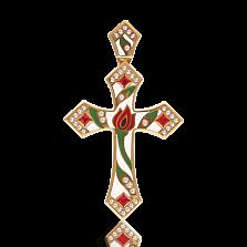 Золотой крестик Беззаботное счастье с рубинами и бриллиантами