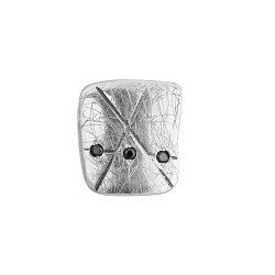 Серебряная серьга-пуссета Интрига квадрат с черными фианитами