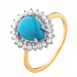 Золотое кольцо Кружевная нежность с бирюзой и узорами из белых фианитов