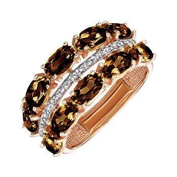 Кольцо из красного золота с раухтопазами и фианитами 000135575