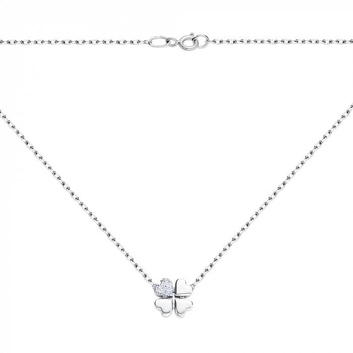 Серебряное колье Любовная удача с клевером из сердечек и усыпкой циркония 000067550