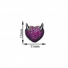 Серебряные серьги-пуссеты Сердце с рожками с фиолетовыми фианитами