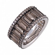 Кольцо Далида из белого золота с бриллиантами и раухтопазами