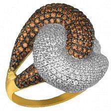 Кольцо из желтого золота Нереида с коньячными и белыми фианитами