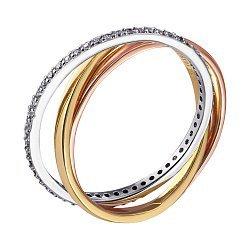 Серебряное кольцо Трио с позолотой и цирконием