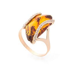 Золотое кольцо Сельма в красном цвете с коньячным янтарем и белыми фианитами 000082398