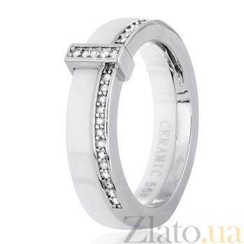 Серебряное кольцо Мельбурн с керамикой и цирконием 000030990