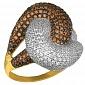 Кольцо из желтого золота Нереида с коньячными и белыми фианитами VLT--ТТ1024-2