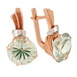 Золотые сережки с зеленым аметистом Гиана