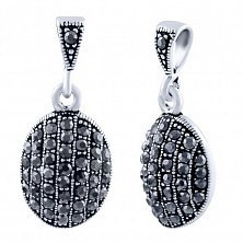 Серебряная подвеска Анжелика в форме овала с серым марказитом