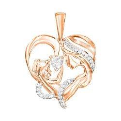 Кулон-сердце в комбинированном цвете золота с фианитами 000129753