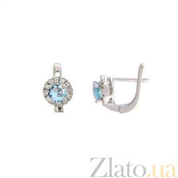 Серебряные серьги с голубым куб. цирконием AQA--MS-150(S)-ET
